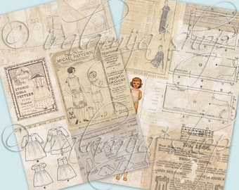 SEWING PATTERN Collage Digital Images -printable download file Digital Collage Sheet Vintage Paper Scrapbook