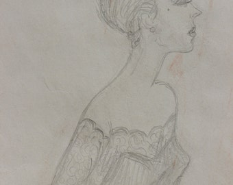 Vintage Pencil Fashion Drawing of a Woman with a Chignon By Jan Andrews Original Antique Fashion Drawings Formal Drawing of a Woman