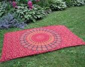 Wine Mandala Tapestry Picnic Blanket , Stake Down Design