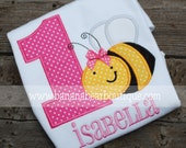 Bumble Bee Birthday Applique with Polka Dots - Bodysuit or Tee Shirt