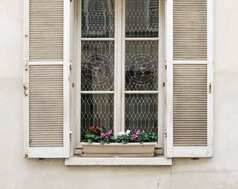 "Paris Photography, ""White Window"" Paris Print, Large Art Print Fine Art Photography, Affordable Wall Art"