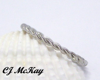 14k White Gold Twisted Wire Wedding Band 1.5mm CR45Q