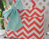 Coral  Chevron  Tote Bag, Every Day Bag, Diaper Bag with  Aqua Blue Sash Bow