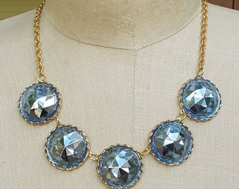 Bold Chunky Collet Necklace Vintage Blue Headlight Czech Czechoslovakia Glass Jewelry