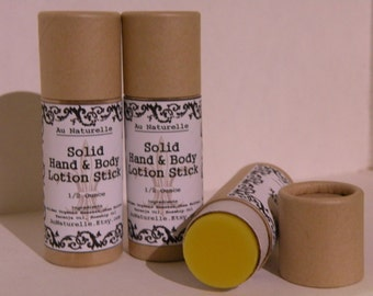 All Natural Solid Hand And Body Lotion Stick  - 1/2 Ounce - Eco Friendly  - Push Up Tube  -  All Natural Lotion