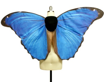 Oversized Morpho Butterfly Costume Wings - Made to Order - Butterfly Halloween Costume - 2 Week Processing Time