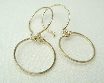 MERIDIAN GOLD EARRINGS, small gold filled hoop earrings