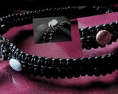 Handwoven Leather dog collar with healing gemstone crystals 1inch wide