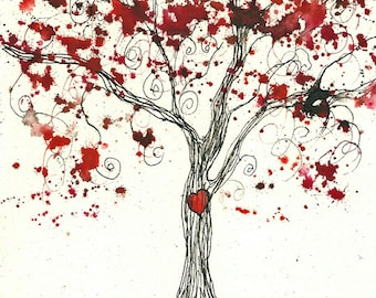 Custom Made Red Valentine Tree, ORIGINAL 5 x 7, watercolor and ink