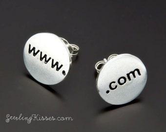 Internet Earrings in Sterling Silver