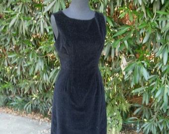 Vintage 50s/60s Wiggle Dress. After Six Dinner Dress, Cocktail Party Dress, Velour Wiggle Dress, Sleeveless, LBD