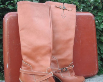 Vintage 1980s Zodiac Knee High Boots /  Zodiac Leather Boots size 5.5
