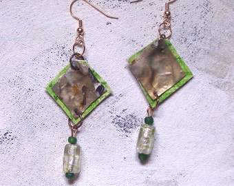 Earth green dangles upcycled artist palette