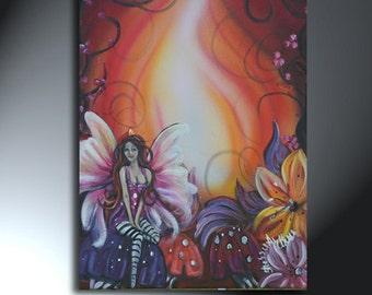 Fairy Painting On Canvas Flowers Mushrooms Original Artwork Size 12 x 16 Canvas Art