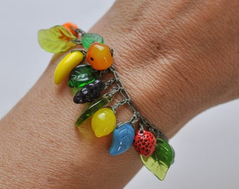 Colorful Glass Fruit bracelet hypoallergenic, durable, crocheted, and beaded