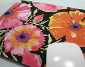Buy 2 FREE SHIPPING Special!!   Mouse Pad, Computer Mouse Pad, Fabric Mousepad    Painted Garden Azelea in Grey