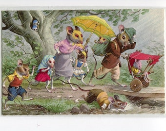 Mainzer postcard, vintage postcard, Mice family caught in rain storm, dressed animals postcard, 4903, anthropomorphic mice