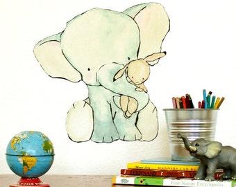 Elephant Hug  -- Wall Decal