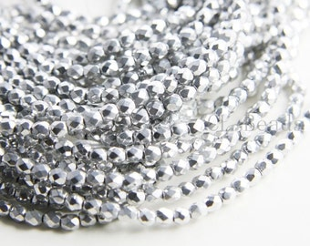 100pcs Czech Fire Polish Glass Faceted Round-Silver 4mm (427000)