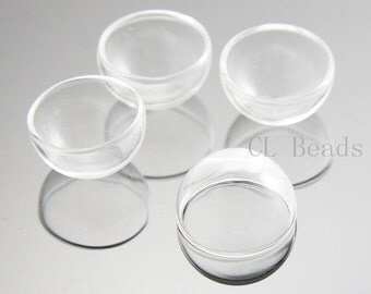 4pcs Clear Glass Cover - One Hole 20x12mm (376C)
