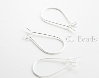 4pcs (2 Pairs) Premium Matte Silver Plated Brass Base Earring Hooks - Kidney 24x12mm (432C-I-220)