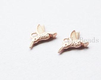 4pcs Matte Rose Gold Plated Brass Base Charms-Hummingbird 12x15mm (1659C-S-210)