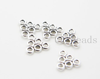 30pcs Oxidized Silver Tone Base Metal Multiple Hole Triangle - 13X14mm (36405Y-T-33)