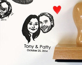 Save the date Personalized valentine gift Custom portraits / Custom couples portrait stamps / self inking / bachelorette bride mrs stamp