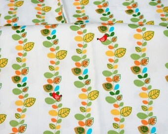 Japanese fabric leaves and bird  Print nc14