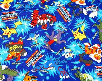 "1 meter pokemon fabric 100 cm by 106 cm or 39 "" by 42"""