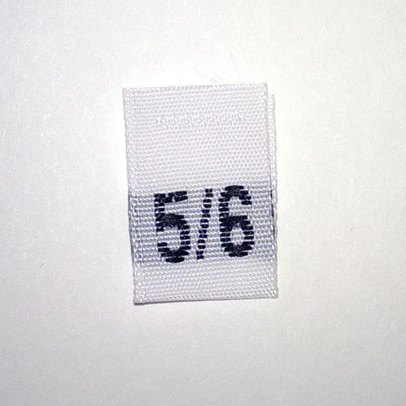 Size 5/6 (Five-Six) Woven Clothing Size Tags (Package of 50)
