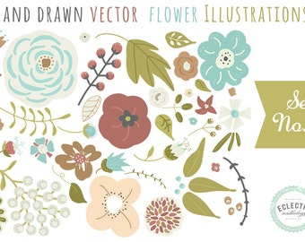 INSTANT DOWNLOAD - Hand Drawn Vector Flower Illustrations - Commercial Use OK