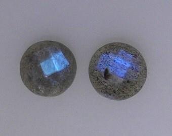 2 10mm checker cut top Labradorite gemstones, darker blue flash, 7.27 carats t.w.      043-08-027