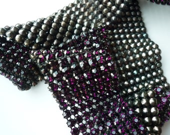 DIVA Rhinestone  Banding, Trim /  Plum Purple Crystal / Bronze Cone Backing, 4 Rows , 1 yard