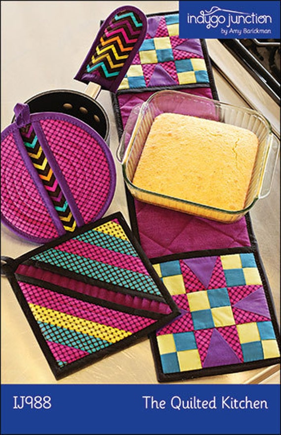 Quilted kitchen set pdf sewing epattern 2 pot holders extra for Quilted kitchen set