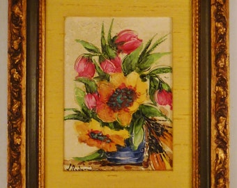 PAINTING Impressionistic STILL Life Sunflowers Gallery Signed REDON  Framed ap 11 x 9