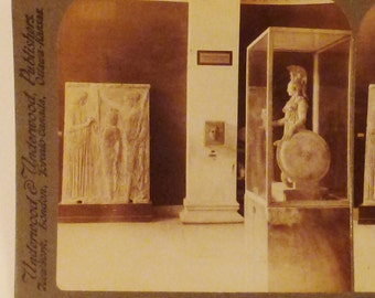 Antique  KEYSTONE Photo 1900s ATHENS GREECE Archeological Museum Athena Phidias sculpture 7x3.5