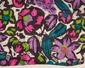 SILK SCARF Flower Garden design  PINK Green Purple all silk hemmed Edges 36 X 34 in