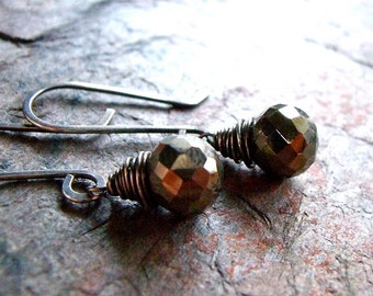 Pyrite Sterling Silver Earrings - Faceted Pyrite Briolettes on Handmade Sterling Silver Earwires