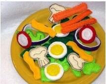 Play food, pretend food felt food salad Salad 22 Piece Set #2504