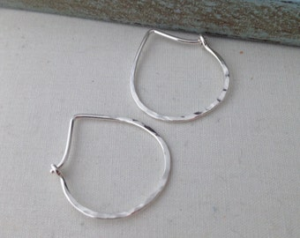 Silver Teardrop Hoop - Small (H01SS-S) Hammered, Modern Hoops - handmade wire jewelry by cristysjewelry on etsy