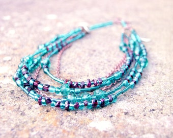 Teal & Garnet Blue Glass bead and Crystal Multi-Strand Necklace