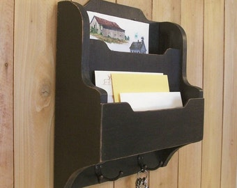 Primitive Mail, Key and Magazine Organizer Entry Way Cubby Shelf Wall Mount Lamp Black Color Choice