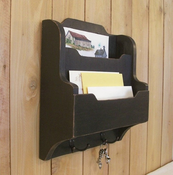 Primitive Mail Key And Magazine Organizer Entry Way Cubby