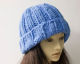 SALE, Blue Chunky Knitted Hat,  Warm Winter Hat,  Brimmed Hat, Ready to Ship