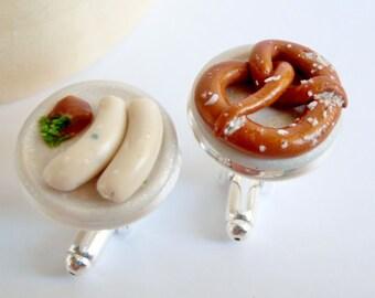 Munich Beer Garden Cufflinks - Mix and Match - Miniature Food Art Jewelry Collectable - Schickie Mickie Oktoberfest Original