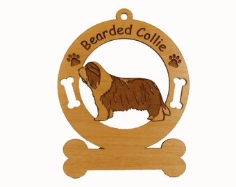 1545 Bearded Collie Standing Personalized Ornament