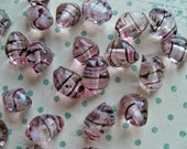 Vintage European CLEAR, PINK and BLACK Striped Chunky Beads