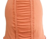 Soy / Certified Organic Cotton Mini Stretch Skirt Pumpkin Rust Orange Color with Ruching