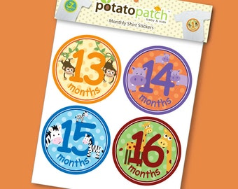 Zoo Monthly Shirt Stickers - 13-24 months for Boys and Girls